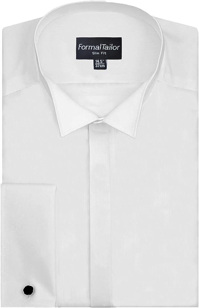 Hombre Corte Slim Blanco Cuello de Pajarita Vestido Formal Camisa De Boda - Blanco, 45.7 cm: Amazon.es: Ropa y accesorios