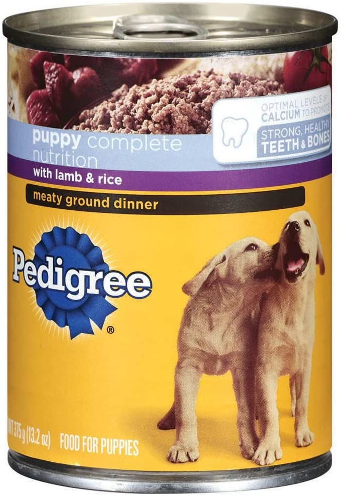 Pedigree Meaty Ground Dinner Puppy Complete Lamb And Rice Canned Dog Food 13.2 Ounces (Pack Of 24)