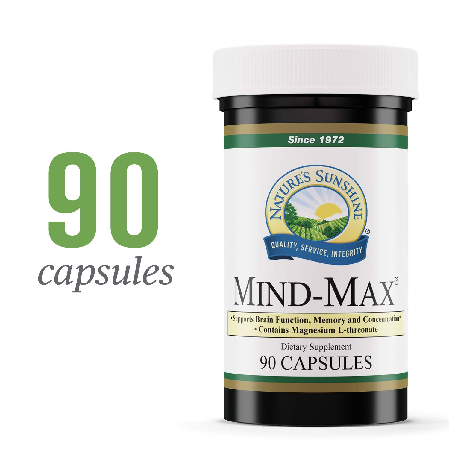 Nature's Sunshine Mind-Max, 90 Capsules | Focus Supplement with Magnesium