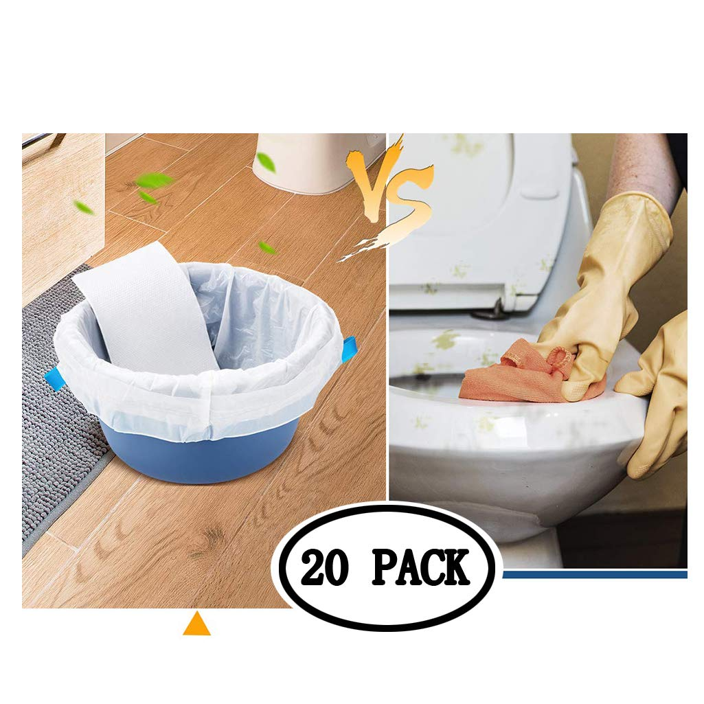 BIEE Toilet Accessories Commode Liners Disposable Commode Liners Pail Bags 20 Pcs