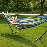 LazyDaze Hammocks Double Hammock With Space Saving Steel Stand Includes Portable Carrying Case, 450 Pound (Green Stripe)