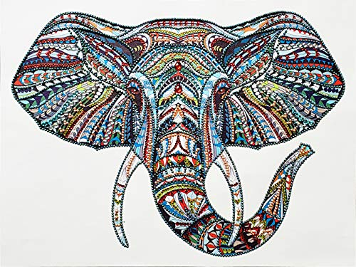DIY 5D Special Shape Diamond Painting by Number Kit Crystal Rhinestone Round Drill Picture Art Craft Home Wall Decor 12x16In Colored Elephant Head ()