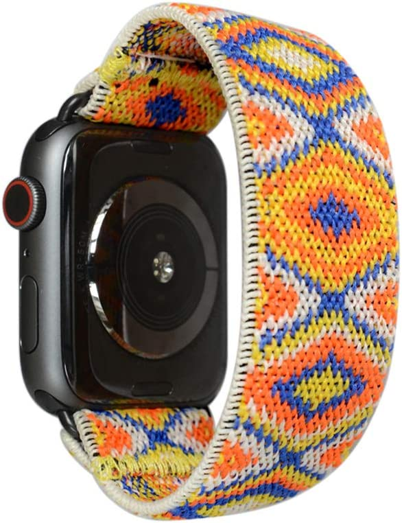 Tefeca Aztec Pattern Elastic Compatible/Replacement Band for Apple Watch 38mm/40mm (Black Adapters, XL fits Wrist Size : 7.5-8.0 inch)