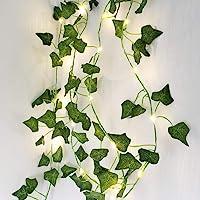 2M 20LED Leaf String Lights,Vine Fairy Lights Batteries Powered Green Leaf Garland Maple String Lights for Bedroom Home…