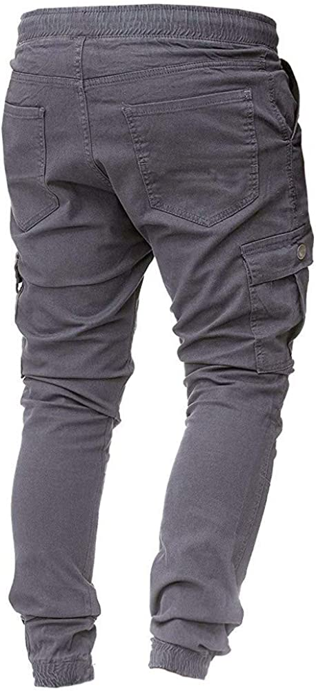 Mens Fashion Cargo Pants,Donci Slim Fit Keep Warm Drawstring Casual Trousers Solid Color Multifunction Sweatpants