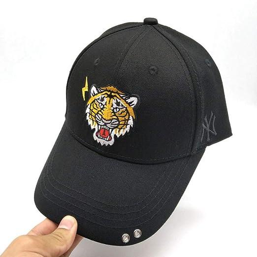 xiaochicun Gorra de béisbol Sombrero Negro Cabeza de Tigre Lado NY ...
