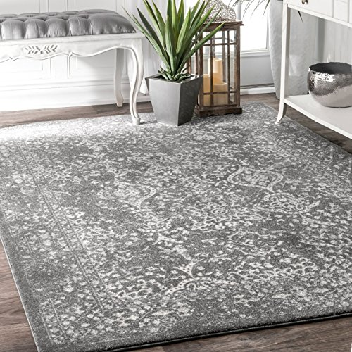 nuLOOM RZBD21C Transitional Odell Area Rug, 4' x 6', Silver from nuLOOM