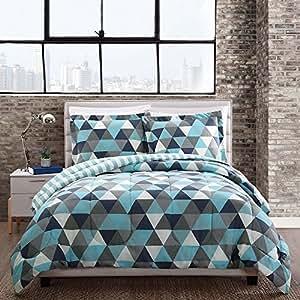 Amazon.com: 3 Piece Blue Grey White Black Geometric ...