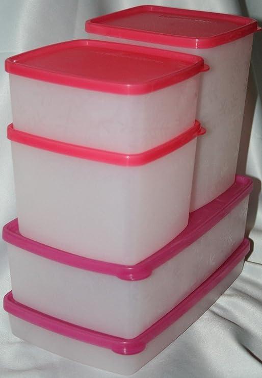 Tupperware cuadrada rondas congelador juego de 5 piezas y ...