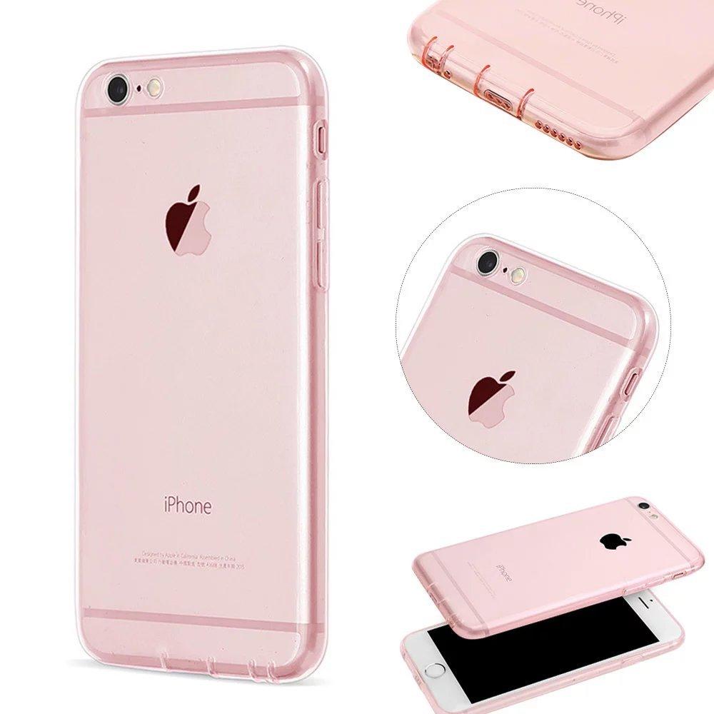 MOMDAD Transparent Coque iPhone 6 6S TPU Étui iPhone 6 6S Souple Silicone Coque Protection Bumper Housse Clair Doux Silicone Gel Ultra Mince Case Cover pour iphone 6 6S 4.7 Pouces Coque-Rose
