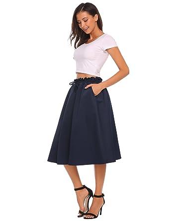 0f684642f Zeagoo Women's Pleated Skirt Drawstring Swing Midi Skater Skirts with  Pockets