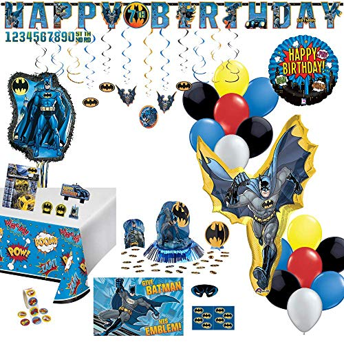 Birthday Party Set :: Ya Otta Pull String Batman Pinata bundled with Batman Party Supplies, Favors and an eBook with Kids Birthday Party Games