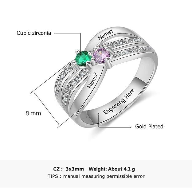 Lam Hub Fong - Anillo de Compromiso para Mujer, Personalizable, con 2 Piedras de imitación: Amazon.es: Joyería