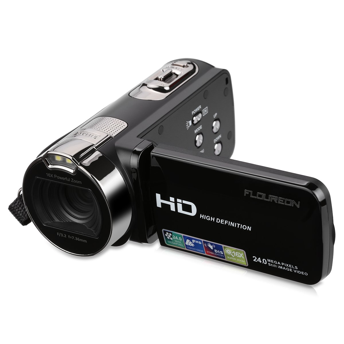 FLOUREON HD 1080P Camcorder Digital Video Camera DV 3.0 TFT LCD Screen 16x Zoom 270 Degrees Rotation for Sport /Youtube/Short Films Video Recording Black