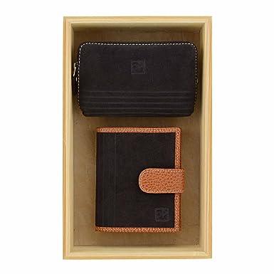 Billetero y monedero piel serraje marrón Talla: U Color ...