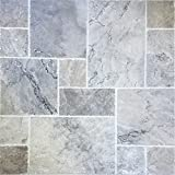200 SQ.FT. Travertine Tile Versailles Pattern (Silver) Pool & Patio, Backyard... Brushed and Chiseled Natural Stone for Outdoors & Indoors