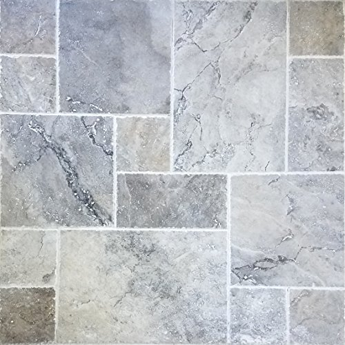 Travertine Pool - SAMPLE - Travertine Tile Versailles Pattern (Silver) Pool & Patio, Backyard... Brushed and Chiseled Natural Stone for Outdoors & Indoors