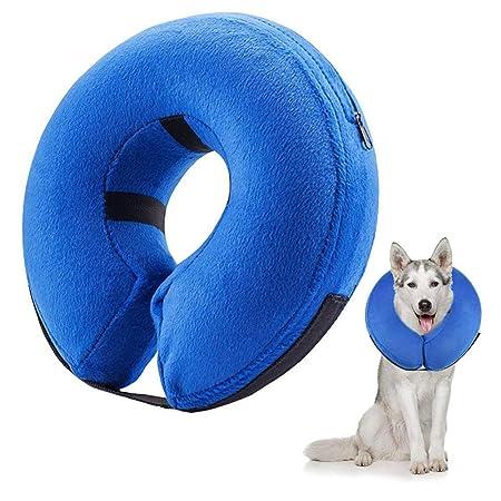 Frifer Collar Hinchable de recuperación de petaca de protección Ajustable Cono de cicatrización Confortable para Perro y Gato, M (COU: 25-33cm / ...