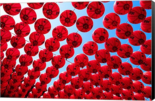 Taiwan,Kaohsiung,Cijin Island,Chinese Lanterns at Tianhou Temple Canvas Art Wall Picture, Museum Wrapped with Mars Black Sides, 22 x 14 inches