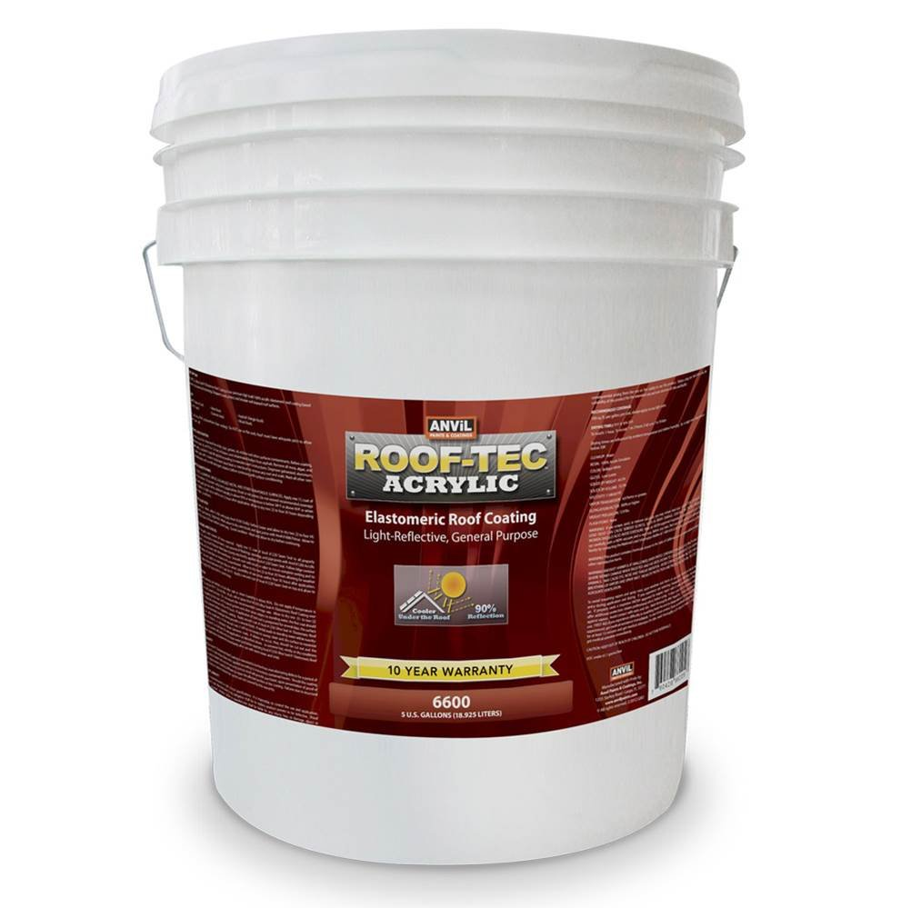 Anvil ROOF-TEC Acrylic White Elastomeric Roof Coating - 5 Gallon