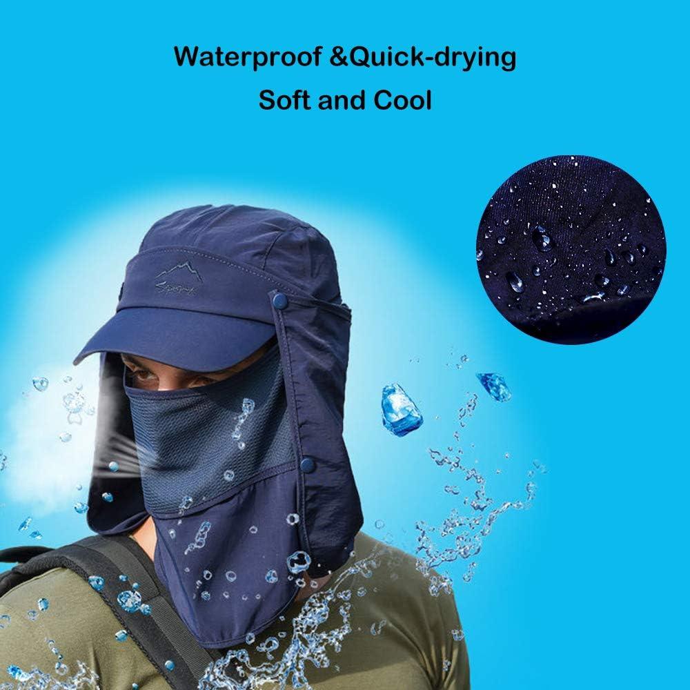 Proteccion Solar Gorra Sombrero de Pesca con Solapa de Cuello Facial Secado r/ápido Respirable Gorras al Aire Libre para Hombres Mujeres GATTORO UPF 50