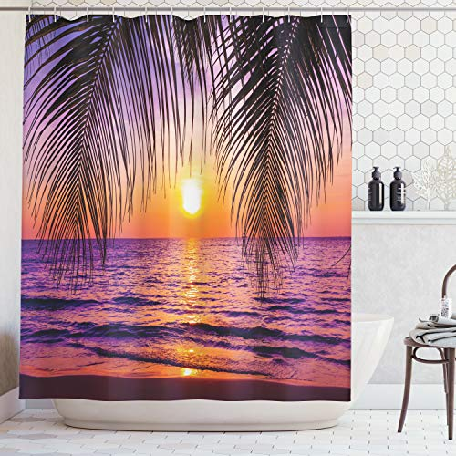 Ambesonne Tropical Decor Collection, Sunset over the Ocean with Tropical Palm Trees Twilight Sundown Scenery Print, Polyester Fabric Bathroom Shower Curtain Set with Hooks, Purple Orange Black