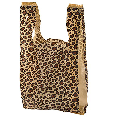 Small Leopard Print Plastic T-Shirt Bags - Case of 1,000 by SSW Basics LLC
