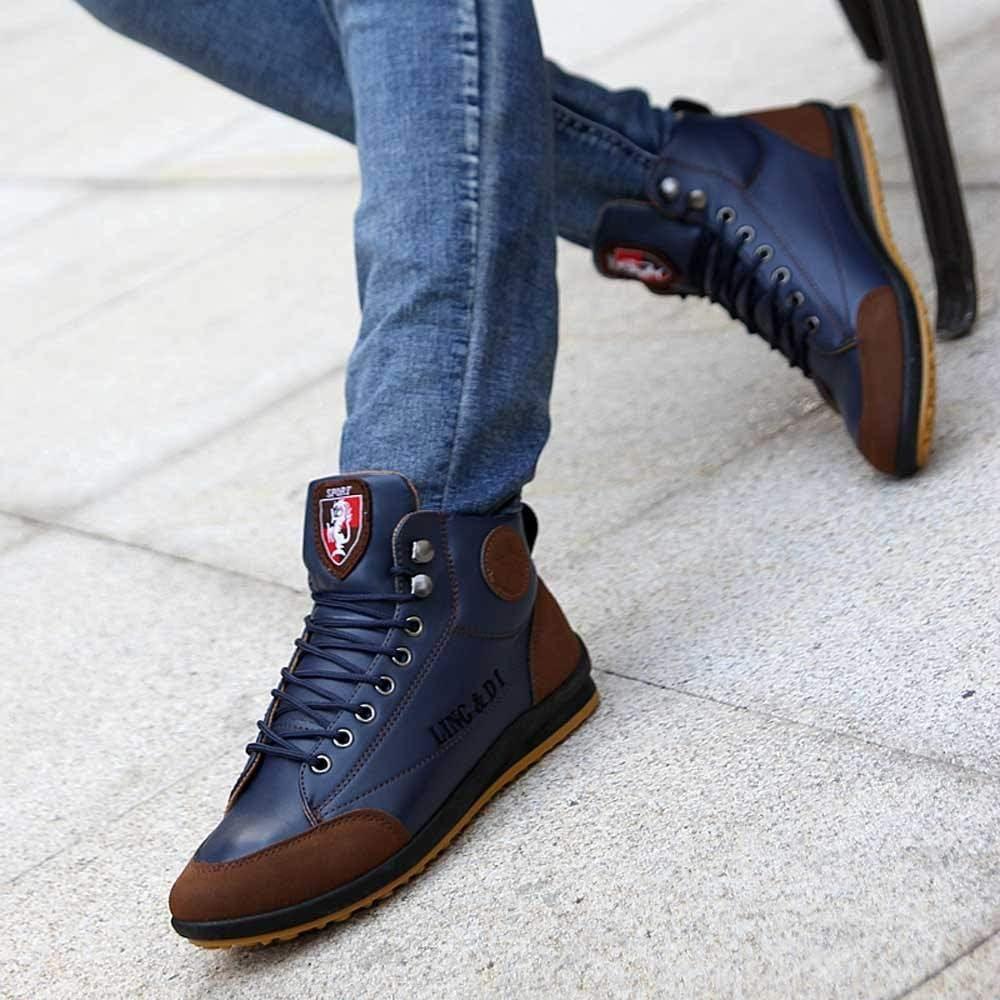 Zzzz Chaussure Homme Hiver et Automne Chaussures Homme Bottes en Cuir Chaussures de Sport Chaussures Style Britannique Vintage