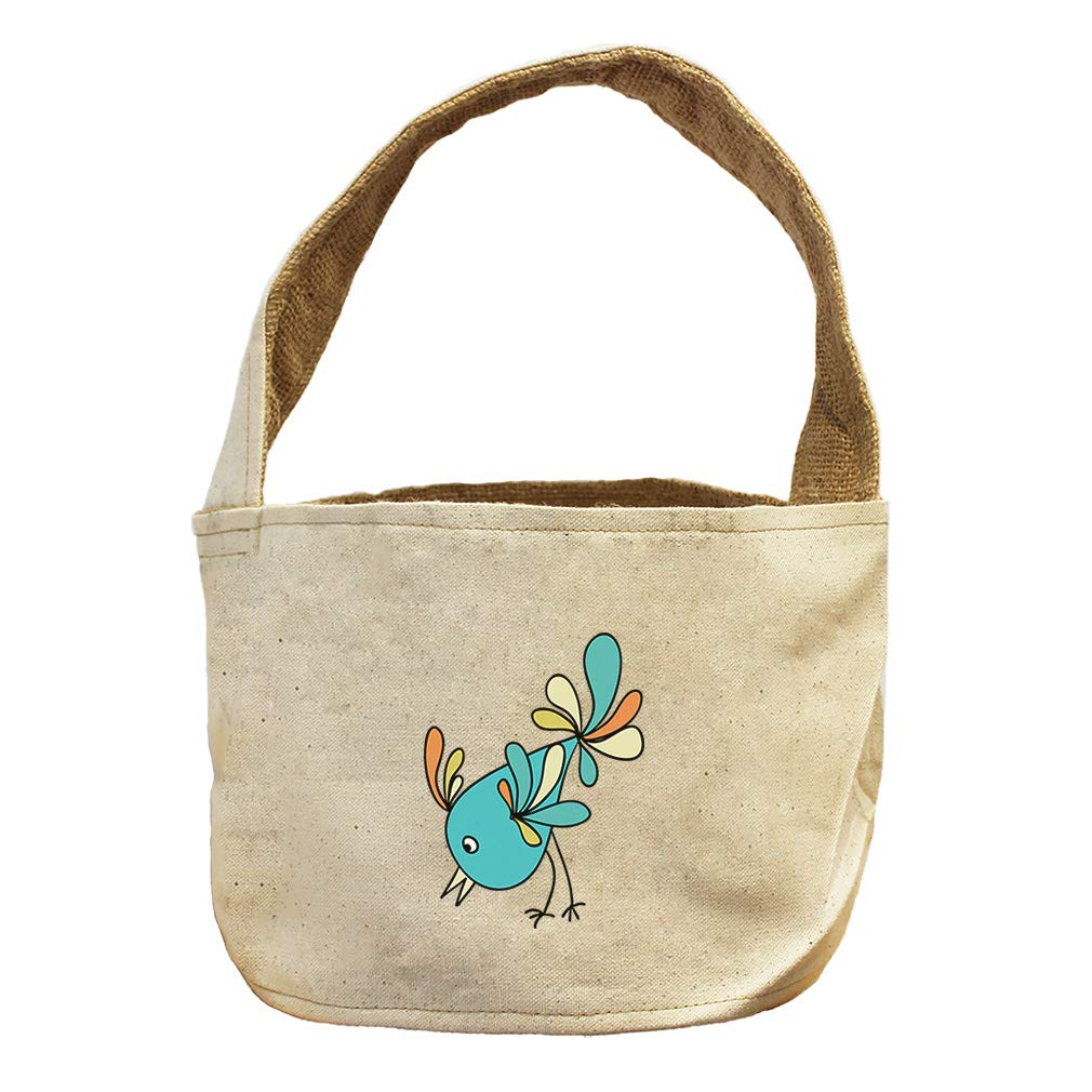 Style in Print Blue Bird Eating from Ground Animals Canvas and Burlap Storage Basket