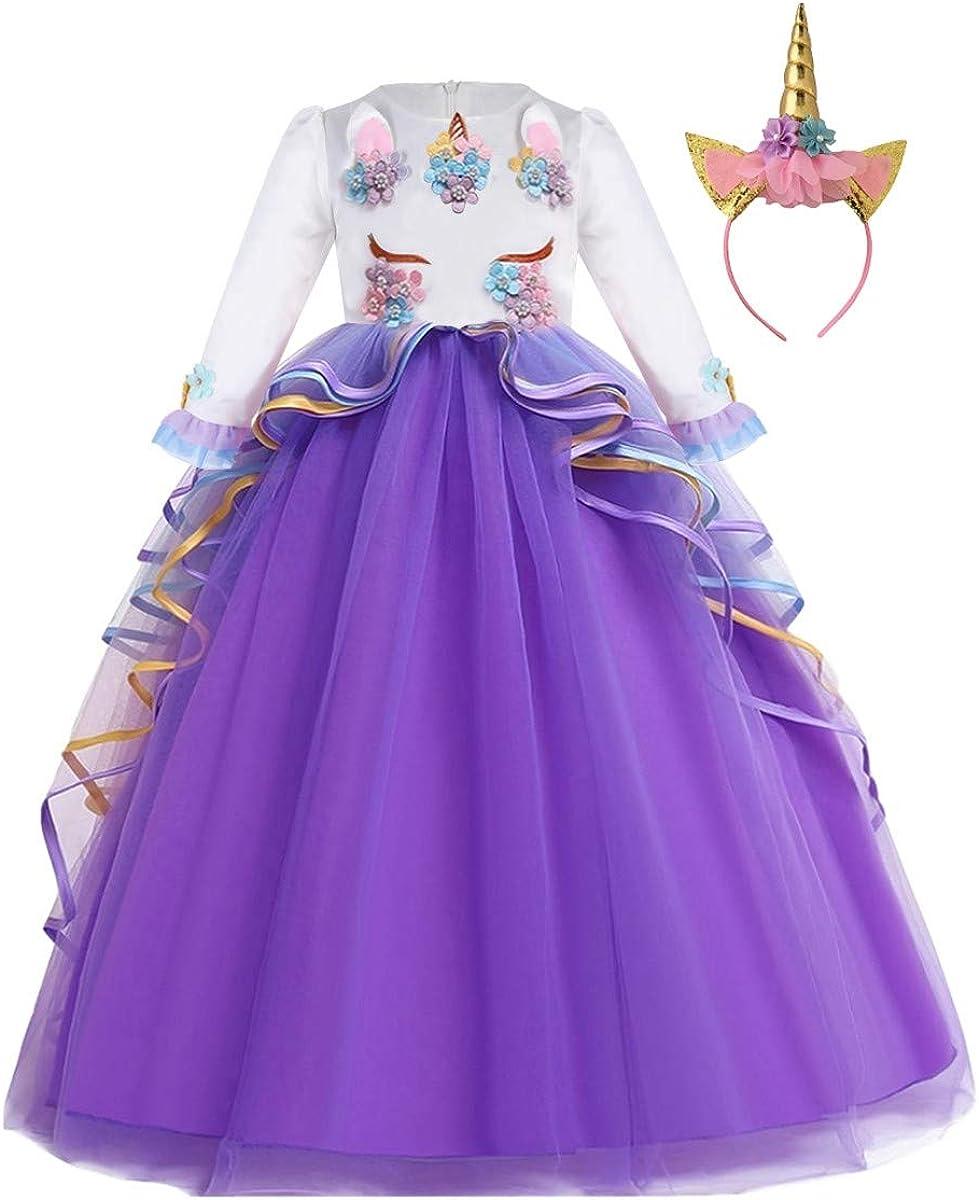 MYRISAM Princesse Fille Licorne D/éguisement Robe de Anniversaire C/ér/émonie Soir/ée Halloween Carnaval No/ël F/ête Spectacle Mariage Longue en Tulle Robes Bal avec Bandeau 4-15 Ans