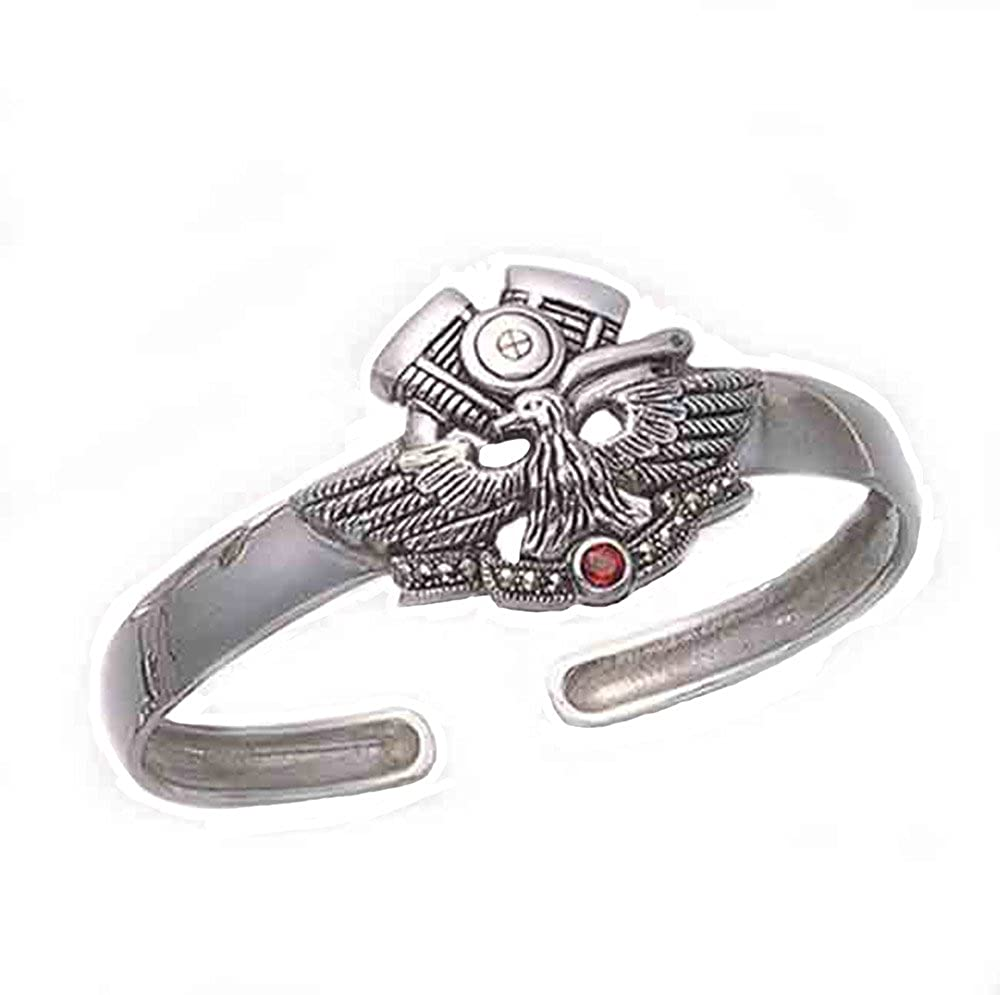 Wild Things Sterling Silver V-twin Evo /& Eagle Cuff Bracelet w//Faceted Red Crystal Stone