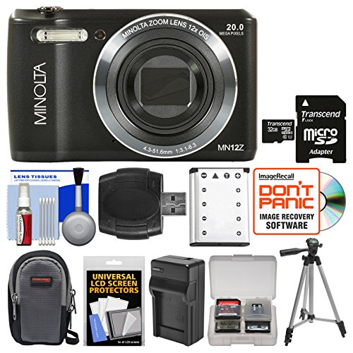 Minolta MN12Z OIS 12x Zoom Wi-Fi Digital Camera (Black) with 32GB Card + Case + Battery & Charger + Tripod + Kit For Sale