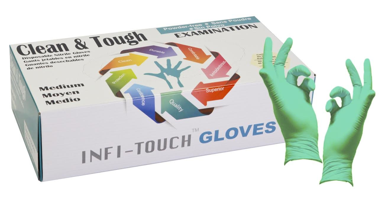 ''RESIDUE FREE'' Green Nitrile Gloves, Infi-Touch Clean & Tough 5 Mill Thickness, Disposable Gloves, Powder Free, Non Sterile, Examination, Finger Tip Textured, Dispenser Pack of 100, Size. Medium.