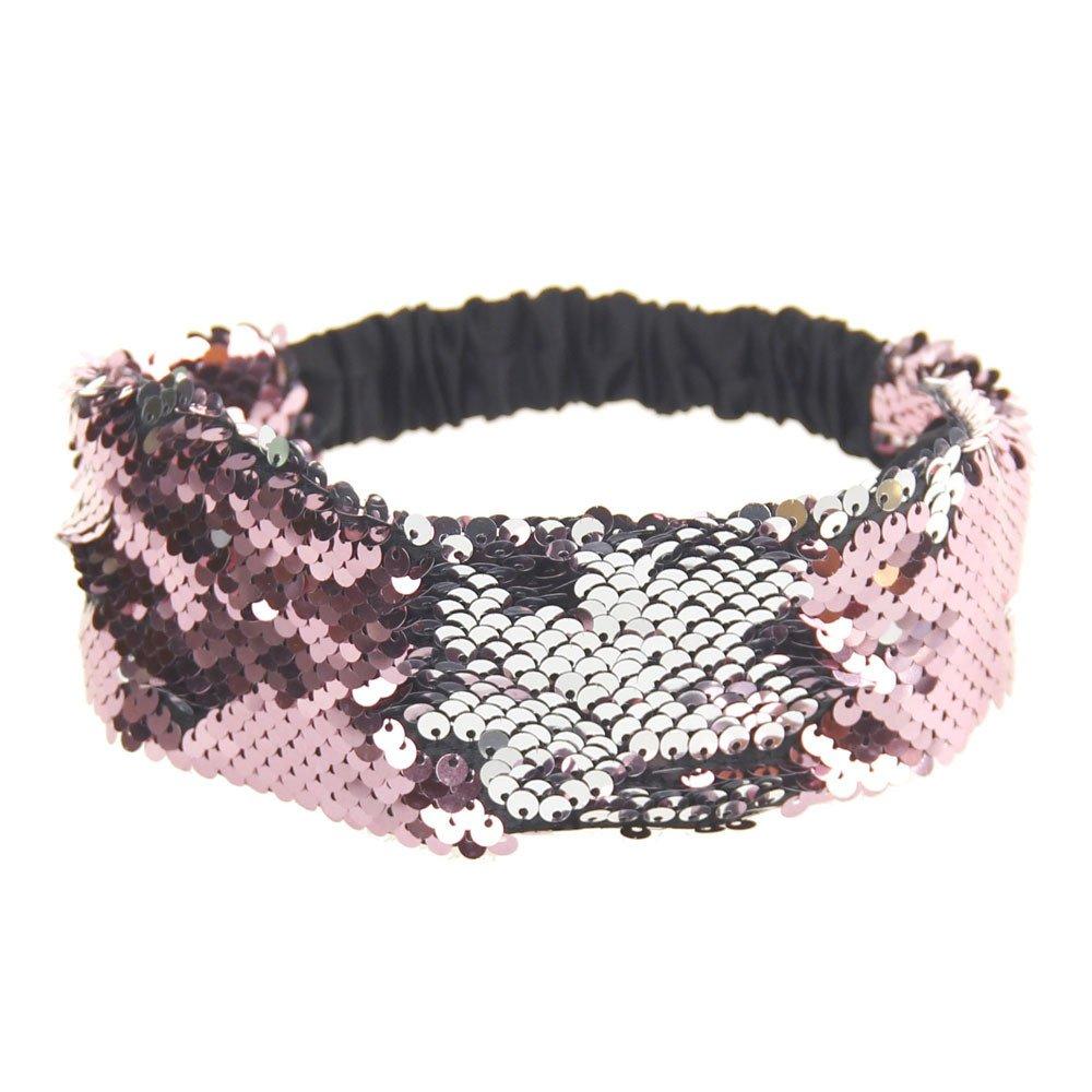 Women Fashion Hair Ball Cotton Headbands Sequins Yoga Elastic Run Head Wrap Wide Hair Accessories Sport Turban ODGear (E)