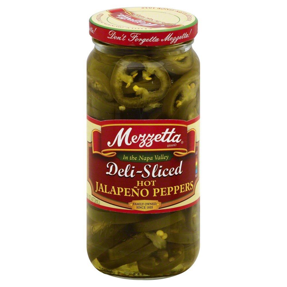 Mezzetta Deli-Sliced Hot Jalapeno Peppers, 16 Ounce (Pack of 6)