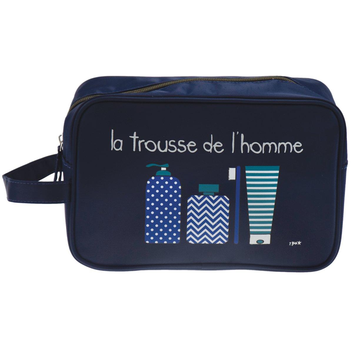 Incidence Paris 62153 Trousse de toilette rectangulaire La trousse de l'homme Nylon Anse de transport, Bleu nuit Bleu nuit