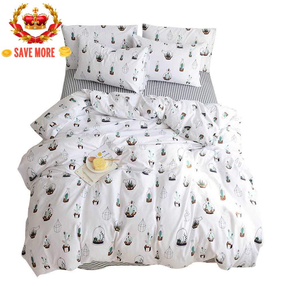 BuLuTu Cactus Print Queen Duvet Cover White 100 Cotton,Lightweight Reversible Super Soft 3 Pieces Kids Teen Bedding Sets Full with Zipper Closure, for Kids Boy,Girl,No Comforter