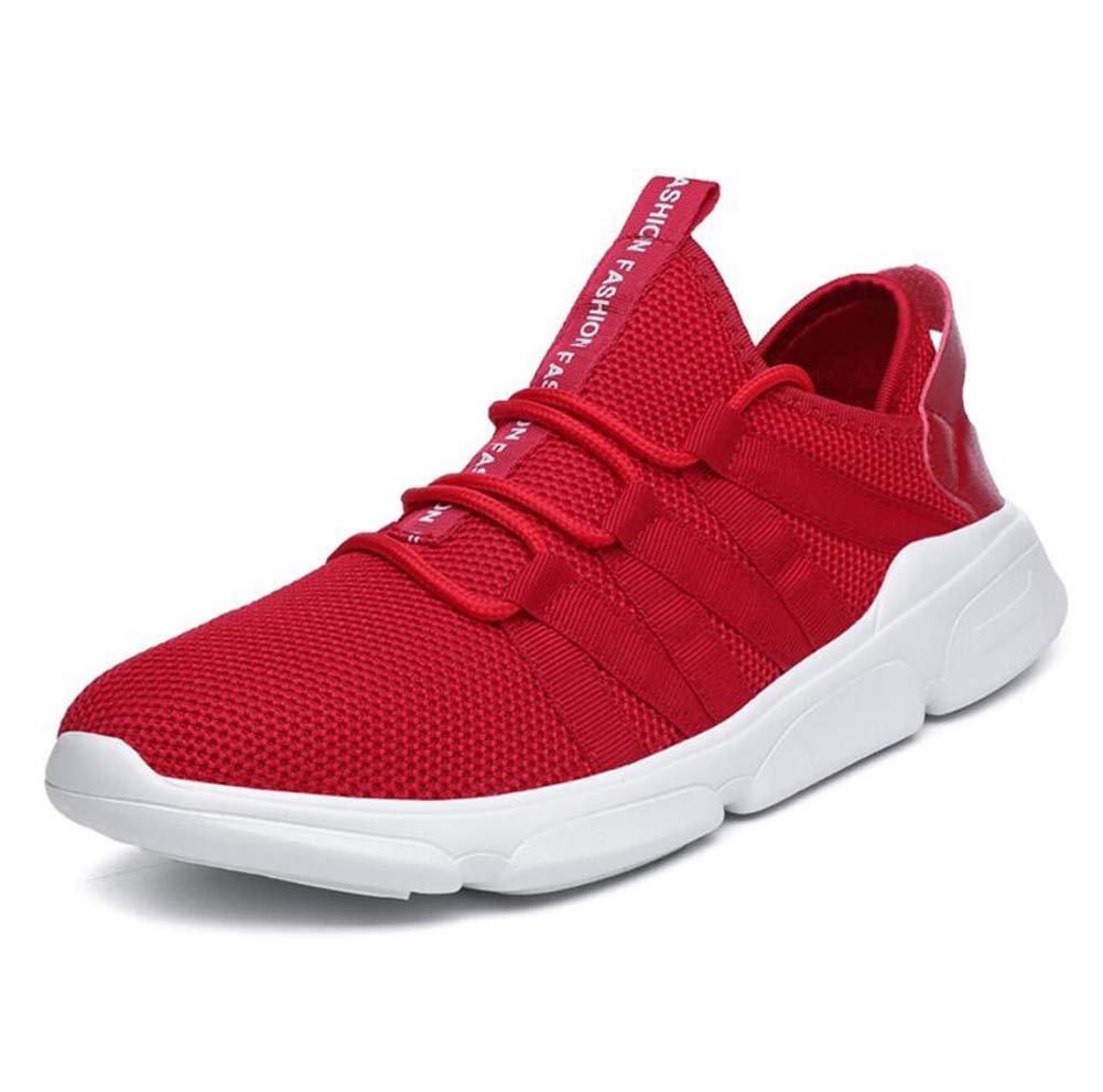 Zapatillas de Deporte de la Bomba de los Hombres Zapatillas de Deporte de Malla con Cordones Zapatos de Deporte de Color Puro Transpirable Comforty EU Tamaño 39-48 (Color : Rojo, Tamaño : 40EU) 40EU|Rojo Rojo