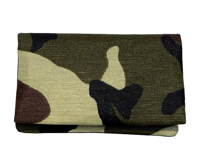 Plan B Funda tabaco de liar TWO DAYS Militar (11,5 x 7,5 cm) 15 g de picadura con bolsa interior de goma EVA Verde. Hecha a mano en España