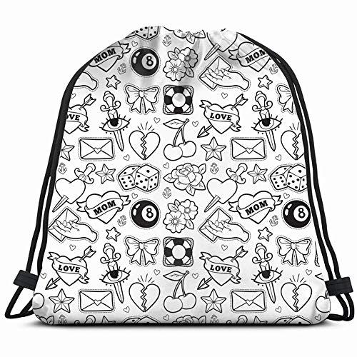 (old school heart cherry rockabilly beauty fashion Drawstring Backpack Gym Sack Lightweight Bag Water Resistant Gym Backpack for Women&Men for Sports,Travelling,Hiking,Camping,Shopping Yoga)