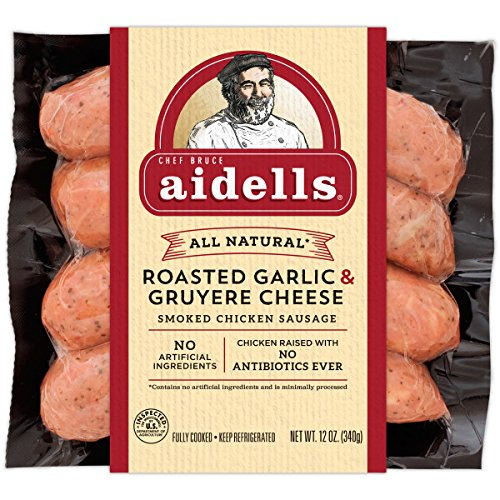 - Aidells Smoked Chicken Sausage, Roasted Garlic & Gruyere Cheese, 12 oz. (4 Fully Cooked Links)