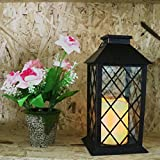 Xoyoo 14'' Tall Black Vintage Led Solar Candle Lantern With Flickering Flamesless Warm White Light Hanging Decrotive atmosphere Lamp for Garden Patway Patio Christmas Party Auto On/Off (Pack of 2)