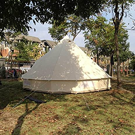 Outdoor Luxury Canvas C&ing Bell Tent Survival Hunting Gl&ing13FT(4M) : canvas kitchen tent - memphite.com