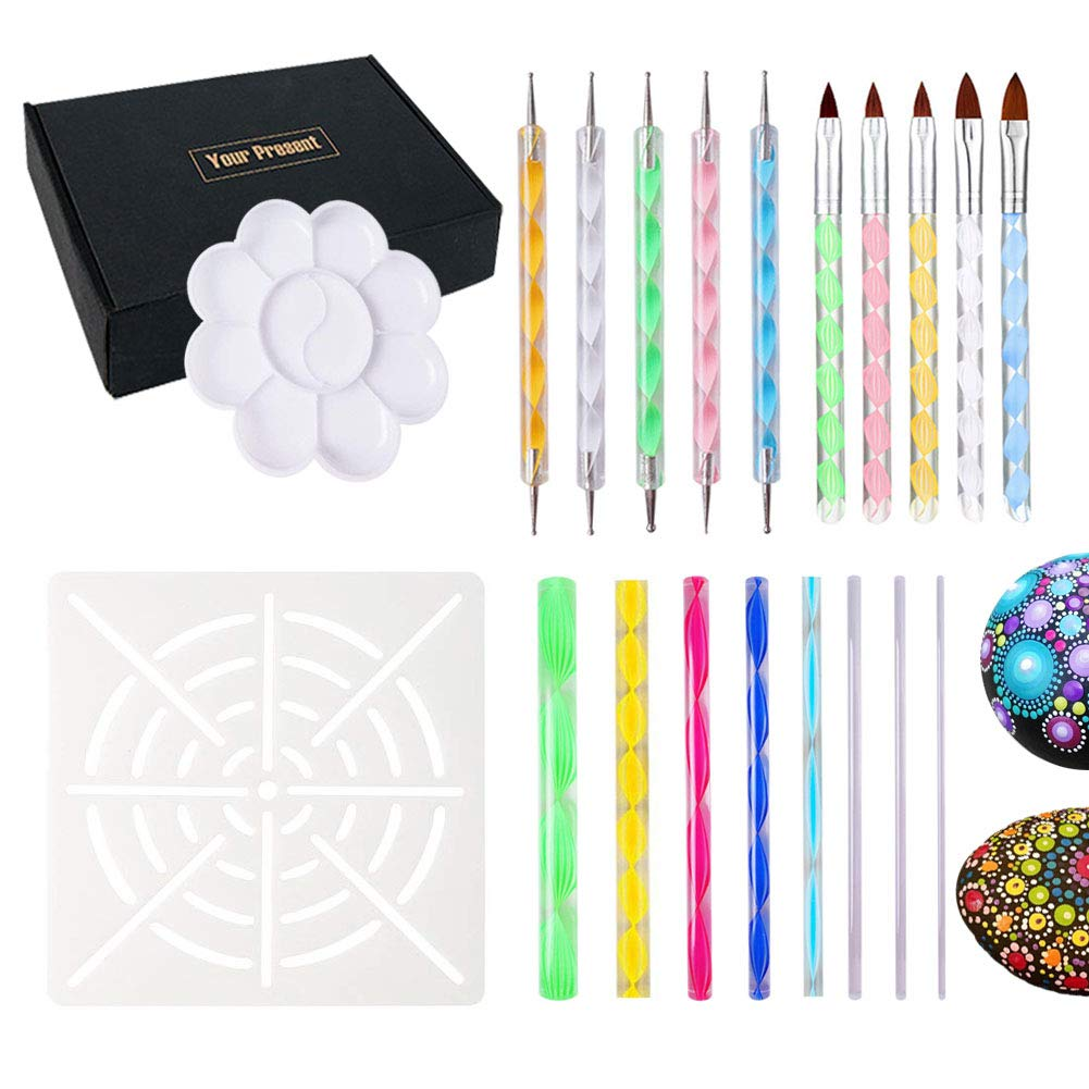 20 Pieces Mandala Dotting Tools for Rocks Different Size Painting Tools with Mandala Stencils and Paint Pallet Mandala Art