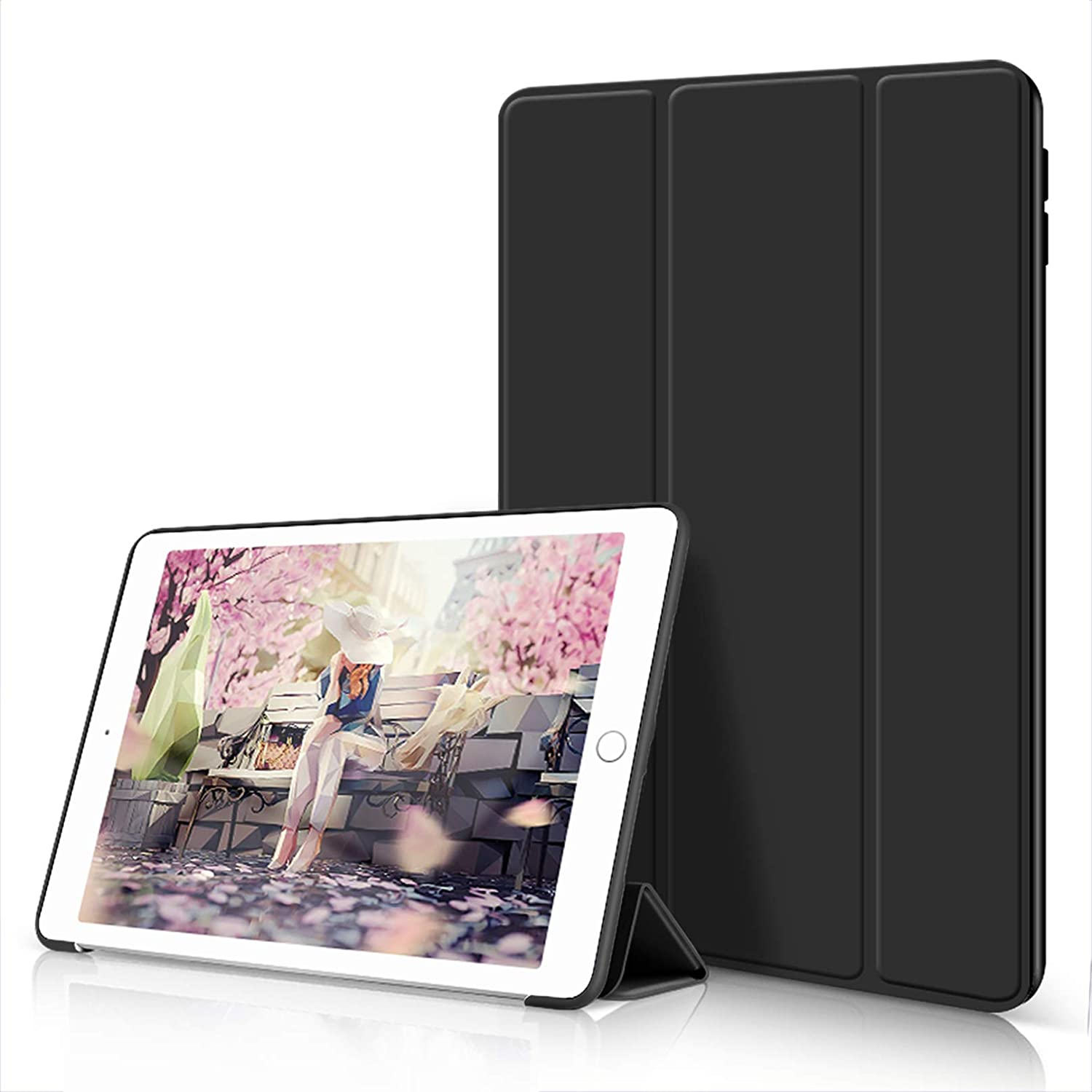 Aoub Case for iPad 6th/5th Generation 2018/2017 9.7 inch, Trifold Stand Ultra Leightweight Soft TPU Smart Cover with Auto Wake/Sleep for Apple iPad Model A1893/A1954, A1822/A1823, Black