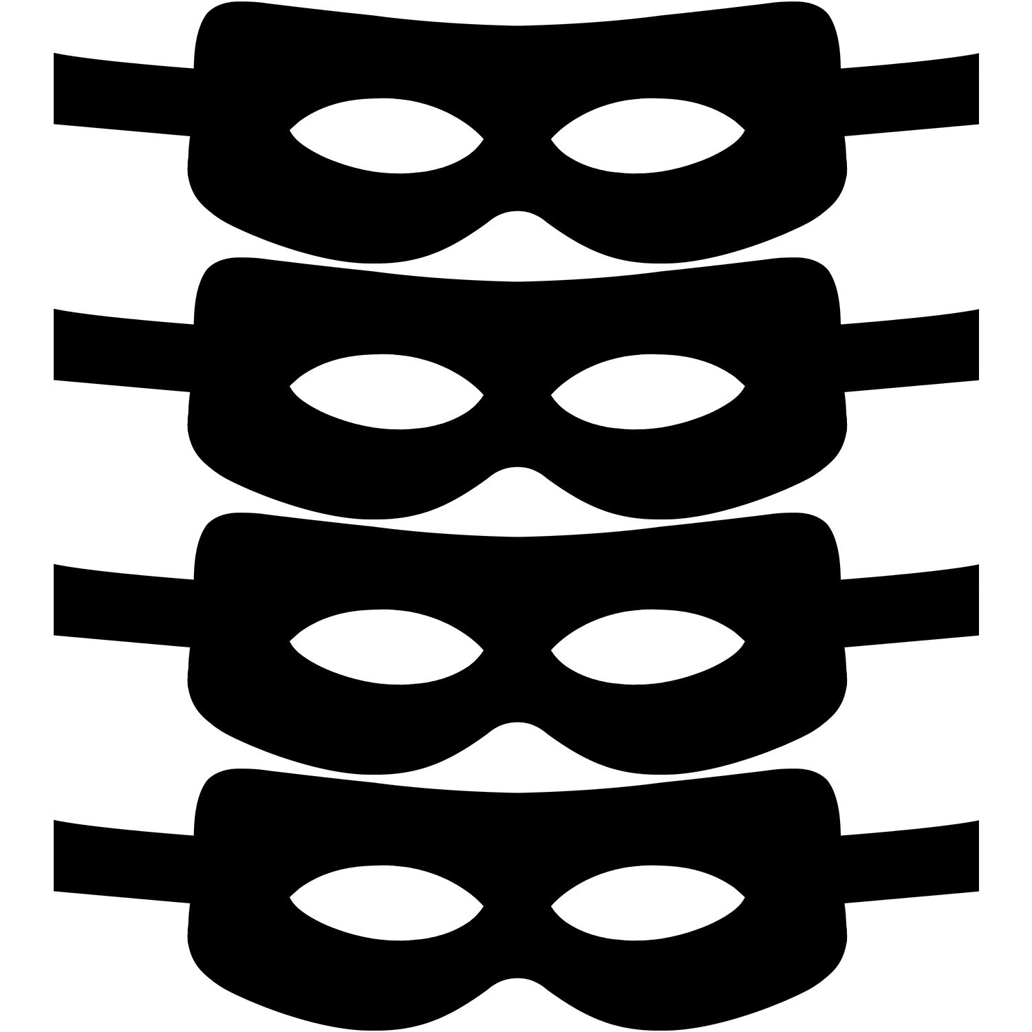 Jetec 4 Pack Cosplay Bandit Mask Half Mask with Ties for Halloween Themed Party Cosplay Costume Accessory