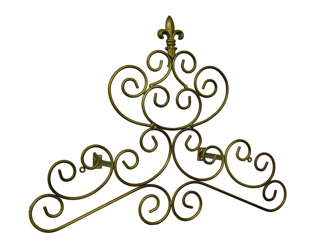 Zeckos Metal Window Treatment Swag Holders Bronze Finish Fleur De Lis Scroll Drapery Crown/Wall Plaque 23 in. 24 X 18 X 0.13 Inches Bronze