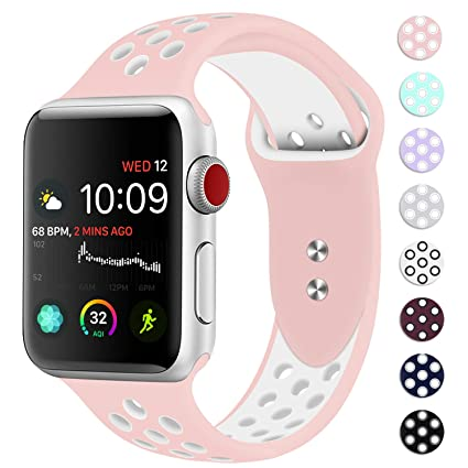 Booyi Sport Band for Apple Watch 38mm 40mm 42mm 44mm, Sport Bands Soft  Silicone Wristband Replacement Compatible for iWatch Apple Watch Series  4,3,2,1 ...