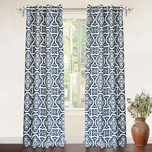 DriftAway Drift Away Floral Trellis Room Darkening Grommet Unlined Window Curtains, Set of Two Panels, each 52″x84″ (Navy)