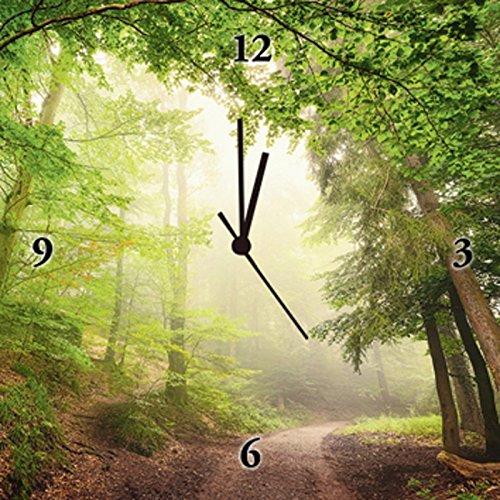 Artland Analoge Wand-Funk-oder Quarz-Uhr Digital-Druck Leinwand auf Holz-Rahmen gespannt mit Motiv Smileus Natürliche Torbögen durch Bäume Landschaften Wald Fotografie Grün B6UU
